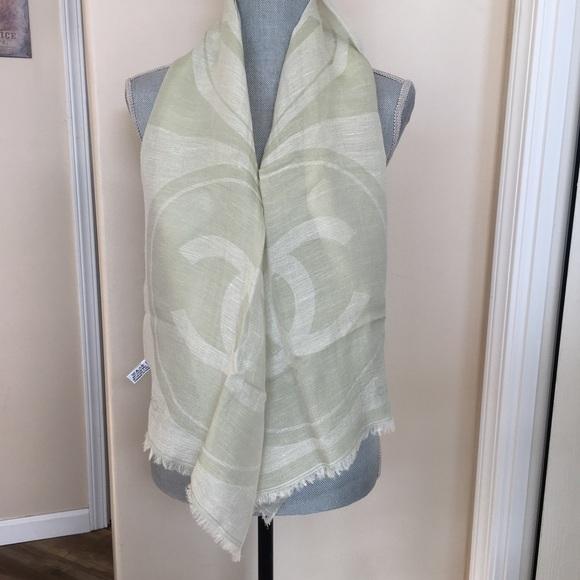 Chanel Silk Linen Blend Green Logo Scarf